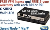 FREE VPN license and FREE 5-year warranty with each BRI or PRI G.SHDSL VoIP IAD! Must order by 31 December 2006. SmartNode� VoIP. For details go to https://marketing.patton.com/email/double-security.htm