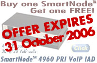Buy one SmartNode Get one FREE! 4 T1/E1 ports, 30 to 120 VoIP calls. SmartNode 4960 PRI VoIP IAD. No limit on 